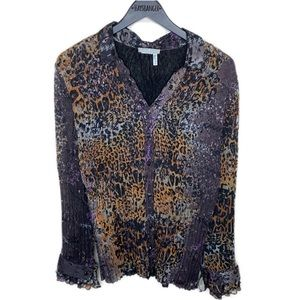 Alberto Makali ruched cheetah print long sleeve